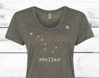 Stellar - Womens Graphic Tee, Stars, T-shirt, Ladies Screen Printed Tee