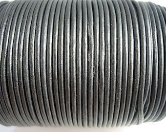 4 m 1.5 mm metallic dark grey top quality leather cord
