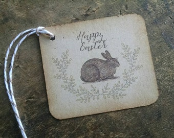Easter Gift Tags, Rabbit and Laurels, springtime, set of 12