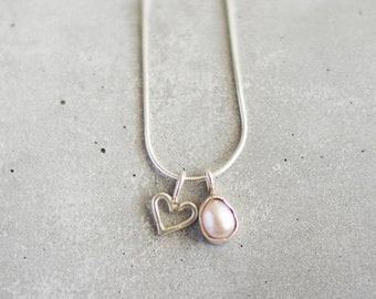 White pearl + loveheart necklace