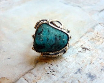 Sterling Silver Agate Ring, Natural Blue Agate Ring, Chunky Ring, Gemstone Ring, statement Ring, Organic Ring, Blue Stone Ring K#317