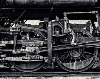 Train Fine Art Photography, 'The Wheels' Man Cave Decor Railfan, Iron Horse Industrial Metal Photo, Abandoned Places,  Train Wall Art