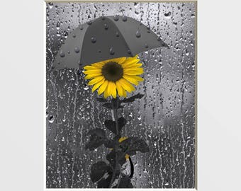 Yellow Gray Sunflower Home Decor Decorative Bathroom Powder Room Wall Art Matted Picture