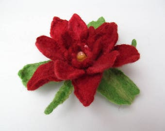 Red rose, wet felted flower pin