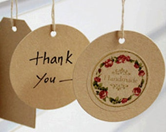 25 Circle Kraft Gift Tags with Strings - M (2.4in)