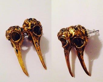 Earrings steampunk gothic victorian raven skull