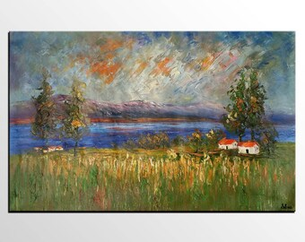 Abstract Painting, Large Oil Painting, Wall Art, Abstract Art, Original Painting, Canvas Art, Canvas Painting, Rustic Landscape painting