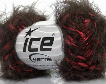 Raspberry Chocolate Eyelash Blend Yarn - Ice 49037 Soft Nylon 50gr 92yds