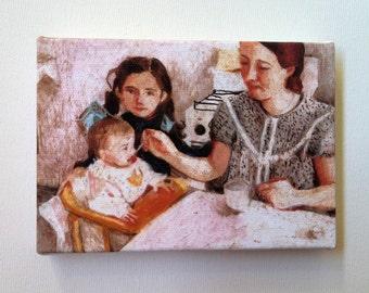 My little brother / Tiny canvas print - FOLK ART PRINT / -Print of Original pastel drawing-Digital print -mounted print - wall hanging