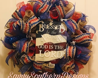 Fourth of July, Patriotic, Independence Day Wreath