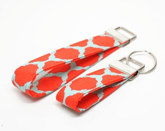 Coral and Mint Fabric Key Chain / Key Fob / Wristlet - Choose Your lenght