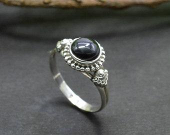 Natural Black Onyx Round Gemstone Ring 925 Sterling Silver R206