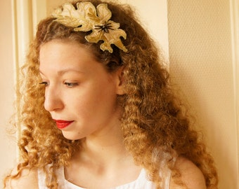 Fiber Art Headband Acanthus Leaf Spider Beige Gold  Botanical Hair Accessory Natural History Woodland Nature Lover Textile Art Free Shipping