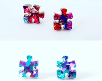 Puzzle studs - Sparkly glitter puzzle earrings - Laser cut acrylic earrings - autism earrings - autism studs- blue autism awareness studs