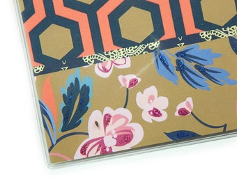 Checkbook Cover - Floral Geometric - top or side tear check book holder - honeycomb lattice - coral, navy, tan - flowers