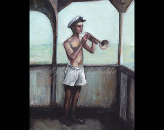 Song at Sea, Original Painting, Nautical Art, Music, Navy, Ocean, Sailor, Bugle, Horn, Musician, Ship, Man in Underpants, Boxer Shorts