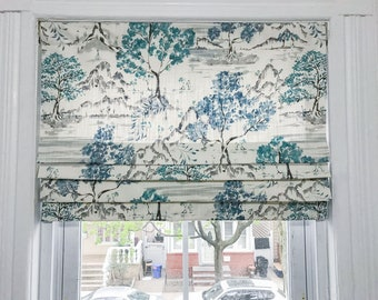 Faux Roman Shade|Antique Blue Fabric| Covington Hikaru Toile Fabric| Mock Roman Shade Valance|