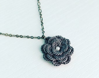 Hyde Park Crochet Necklace in Charcoal Grey, Spring Flowers, Crochet Flower, Flower Pendant, Bridesmaid Gift, Gift Under 30, Garden Party