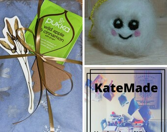 Blind Date With A Vintage Book And Adorable Needle Felted Snowball Christmas Decoration | Unique Gift Idea | Stocking Filler | Cute Kawaii