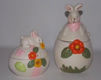 Set of 2 ceramic Easter Bunny egg boxes