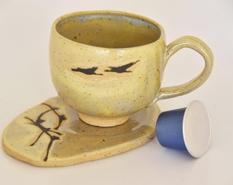 Ceramic coffee cup & Saucer/ Cappuccino cup/ handmade ceramic birds cup/ coffee lovers gift/ made in Israel/ housewarming gift/ wedding gift