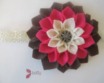 Brown, pink, cream/ivory felt dahlia flower girl's lace headband with silver button center FREE U.S. SHIPPING