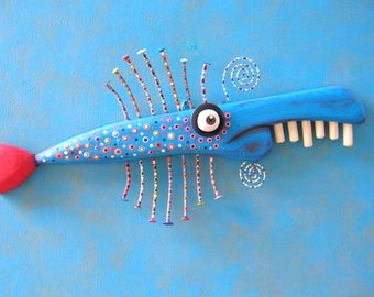 Blue Fish Stick, MADE to ORDER, Original Found Object Wall Sculpture, Wood Carving, Fish Sculpture, Fish Wall Art, by Fig Jam Studio