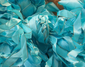 "Ribbon ""AQUA BLUE"" Gilt Edged 12yds NARROW"