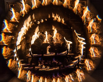 Abstract Photography, Fire Photography, Fireplace, Prism Photography, Abstract Photo Print