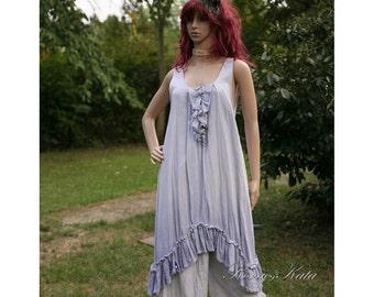 Romantic Lagenlook Hand Dyed Linen Slip Dress with Frills OOAK
