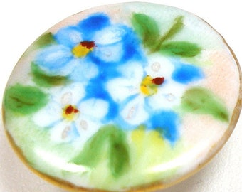 """1910s Antique Porcelain Button, Edwardian china stud with hand-painted flowers 7/8""""."""