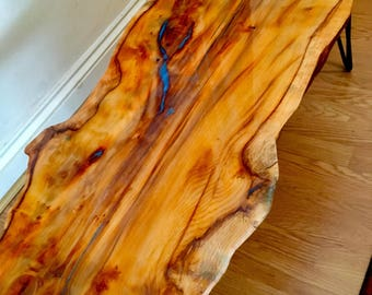 SOLD** Yew Epoxy Resin Live Edge Coffee Table **SOLD