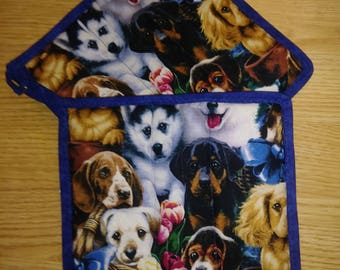 2 pc Dog Pot Holder Hot Pad Set
