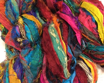 Sari Ribbon, Multi Color - Recycled Silk and Fabric Remnant Yarn -  Knit, Scrap, Weave, Hook!