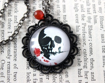 Skull & Rose Cabochon Black Necklace with Carnelian Bead - Goth Witchy Halloween