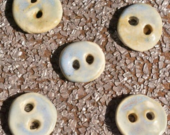 Ceramic glazed buttons, Clay buttons blue, Pottery buttons hand formed, Hand made ceramic buttons, Clay buttons set of eight.