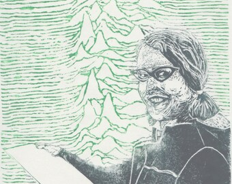 Astronomer Jocelyn Bell and the LGM-1 linocut - History of Science, Women in STEM, Astronomy, Jocelyn Bell Burnell Lino Block Portrait Print
