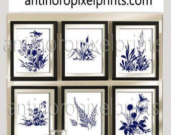 Navy White Flower Garden Botanical Print Gallery Set of (6) 8x10- Art Prints (Featured in White Background and Navy)  (Unframed)