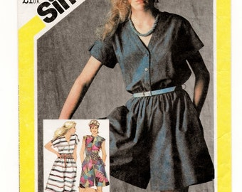 """A Front Button, Cap Sleeve, Culotte Dress, Romper, and Flared Skirt Dress Pattern for Women: Uncut - Size 10, Bust 32-1/2"""" • Simplicity 5583"""