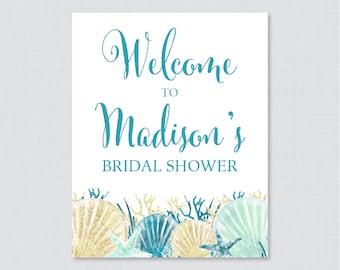 Nautical Bridal Shower Welcome Sign Printable - Blue and Aqua Beach Themed Bridal Shower Customizable Sign - Nautical Bridal Decor 0012-B