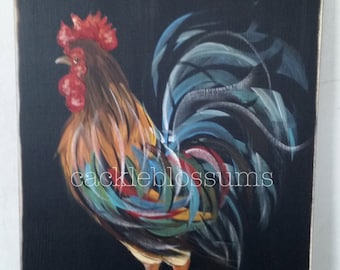 """11"""" x 22"""" #414 Rooster Welcome Friends Art on Rustic Wood"""