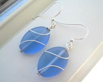 Light Blue Earrings - Recycled Glass Earrings - Cultured Sea Glass - Wire Wrapped Earrings - Wire Wrapped Jewelry - Oval Earrings