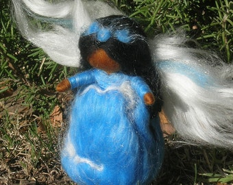 Wee Standing Angel in Chocolate - Waldorf Inspired Needle Felted Soft Sculpture - Wool Fairy ornament by Rebecca Varon
