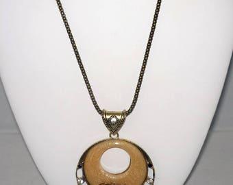 Vintage Look Bronze and Golden Blush Pendant w Bronze Greyhound, Crystals, Bronze Necklace