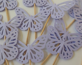 Lilac Butterfly Cupcake Toppers - Bridal Shower Decorations - Wedding Decorations - Baby Shower Decorations - Birthday Party Decorations
