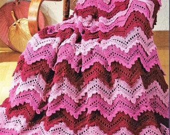 Afghan Crochet Pattern, Crochet Afghan Pattern, Ripple Afghan Crochet Pattern, INSTANT Download Pattern PDF (1028 - D)