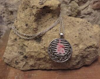 "Print and cabochon silver necklace ""collection special Aurelia"""