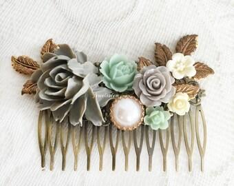 Mint Green Grey Wedding Hair Comb Rustic Bridal Hair Slide Romantic Floral Comb Seafoam Wedding Hair Pin for Bride