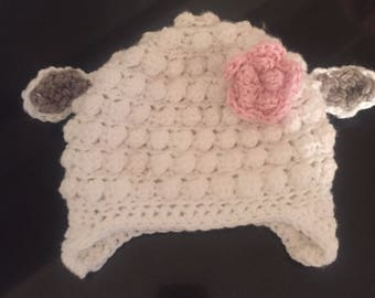 Lamb hat, crochet lamb hat, lamb beanie, lamb crochet beanie, newborn lamb, child lamb hat, animal hat, newborn photo prop, baby lamb hat