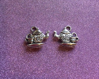 2 Antique Silvertone Teapot and Cup charms